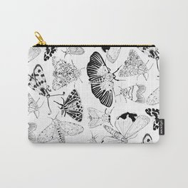 Moth Pattern Black and White Carry-All Pouch
