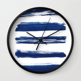 Indigo Brush Strokes | No. 2 Wall Clock
