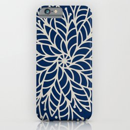 Modern navy blue ivory hand painted floral mandala iPhone Case