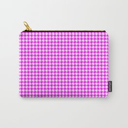 Houndstooth Hot Pink on White Pattern Carry-All Pouch
