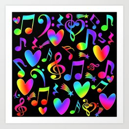 Musical Rainbow Notes Hearts Stars on black Art Print