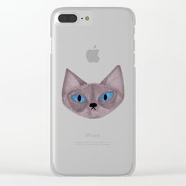 Grey Cat Head with Blue Eyes Clear iPhone Case