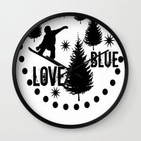 snowboard Wall Clocks featuring Forest Snowboard Love Blue by Patti Friday