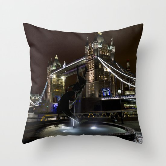 Girl and dolphin and Tower Bridge Throw Pillow