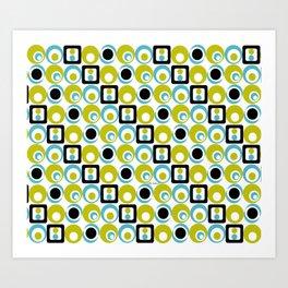 Lime Turq Black White Circles Squares Art Print