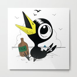 Drinky Crow! Metal Print