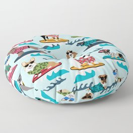 Surfing Dogs - cute summer tropical dogs surfing Floor Pillow