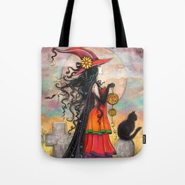 Witch Way Halloween Witch and Cat Fantasy Art by Molly Harrison  Tote Bag