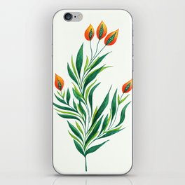 Abstract Green Plant With Orange Buds iPhone Skin