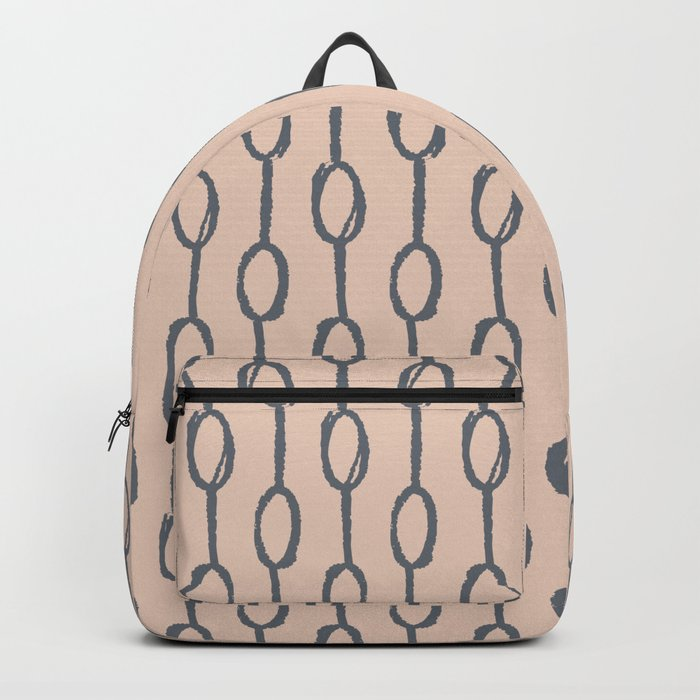 Pebble Dot Stripes Gray on Vintage Rose Pink Backpack