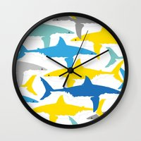 sharks Wall Clocks featuring Sharks  by BRITADESIGNS