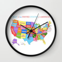 Colorful Map of the United States Wall Clock
