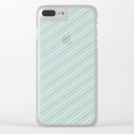 Vintage elegant pastel green white stripes Clear iPhone Case