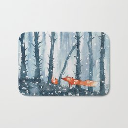 Foxes in forest Bath Mat