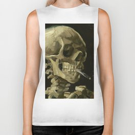 SKULL OF A SKELETON WITH BURNING CIGARETTE - VINCENT VAN GOGH Biker Tank