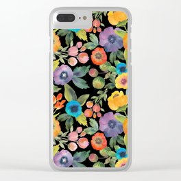 Poppies on Black Clear iPhone Case