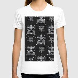 Baron Samedi Voodoo Veve Symbols in Black T-shirt