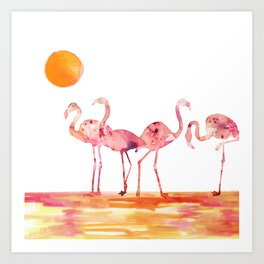 The Wading Flamingos Art Print