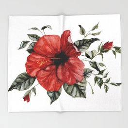 Blooming Red Hibiscus Throw Blanket