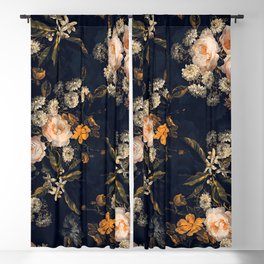 Antique Botanical Peach Roses And Chamomile Midnight Garden Blackout Curtain