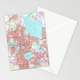 Lakeland Florida Map (1975) Stationery Cards