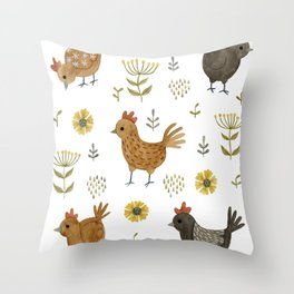 chicken floral Throw Pillow