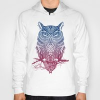feathers Hoodies featuring Evening Warrior Owl by Rachel Caldwell