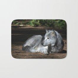 Gray Wolf at Rest Bath Mat