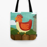 chicken Tote Bags featuring Chicken  by Claire Lordon