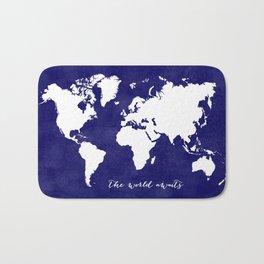 The world awaits in navy blue Bath Mat