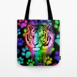 Tiger Neon Dripping Rainbow Colors Tote Bag
