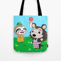 animal crossing Tote Bags featuring Animal Crossing by Alex Owen