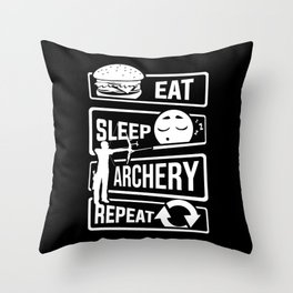 Eat Sleep Archery Repeat - Archery Arrow Bow Hunt Throw Pillow