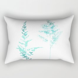 Aqua Blue Astilbe Minimalist Botanical Rectangular Pillow