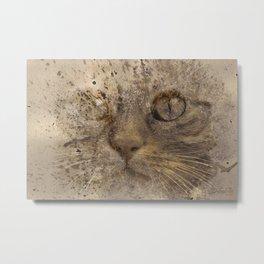 Cat Splash Fever Metal Print