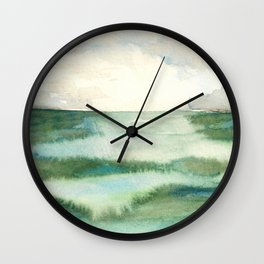 Emerald Sea Watercolor Print Wall Clock