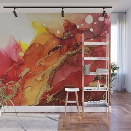 Golden Flame Abstract Ink - Part 1 Wall Mural