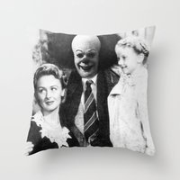 pennywise Throw Pillows featuring PENNYWISE IN A WONDERFUL LIFE by Luigi Tarini