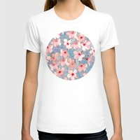 bedding T-shirts featuring Shabby Chic Hibiscus Patchwork Pattern in Pink & Blue by micklyn