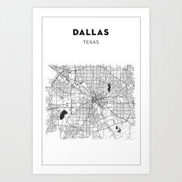 DALLAS MAP PRINT Art Print