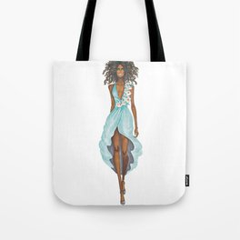 GIRL - Negress Lady In TURQUOISE - watercolor Tote Bag