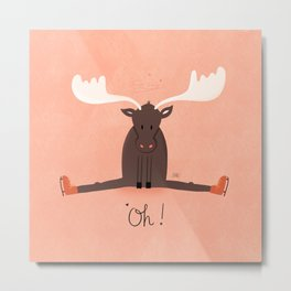 Ice Skating Moose Metal Print