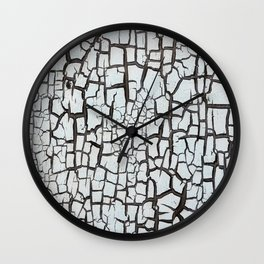 cracked white paint on wood texture pattern background Wall Clock