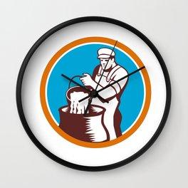 Cheesemaker Pouring Bucket Curd Circle Woodcut Wall Clock