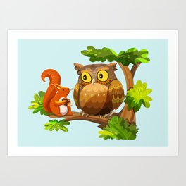 The Owl and The Squirrel Art Print