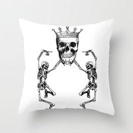Skull King and Dancing Skeletons   Vintage Skulls   Vintage Skeletons   Black and White   Throw Pillow