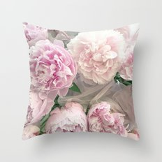 Shabby Chic Pastel Pink Peonies Wall Art - Peonies Home Decor Throw Pillow