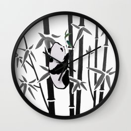 Panda bamboo feeding Wall Clock