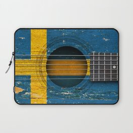 Old Vintage Acoustic Guitar with Swedish Flag Laptop Sleeve
