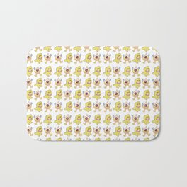 Funny orange lime green cute monsters pattern Bath Mat